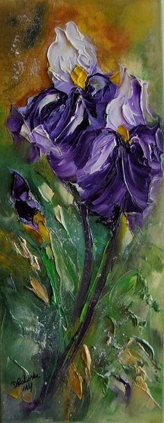 Purple White Irises Textured Original Oil Painting Flowers IMPASTO Europe Artist #Impressionism