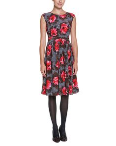 Boden Selina Grey & Red Floral Print Ruched Dress. <3