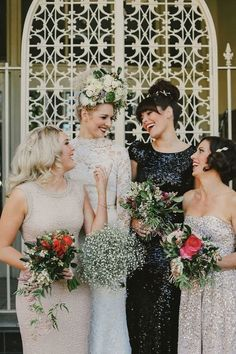 This bridal party style sparkles in sequined dresses. Instead of selecting dresses around color, pick a texture or style detail. This brings everyone together, but lets each bridesmaid stand out. Winter Bridesmaid Dresses, Winter Bridesmaids, Mismatched Bridesmaid Dresses, Bridesmaids And Groomsmen, Bridesmaid Flowers, Wedding Bridesmaids, Wedding Gowns, Sparkly Bridesmaids, Sequin Bridesmaid