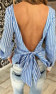 Details: Stripe print Long sleeve Backless Tie at back Material:Polyester,Cotton Regular wash Free Shipping ! We accept Paypal . SIZE(CM) US BUST SLEEVE LENGTH S 2/4 88 59 63 M 6/8 92 60 64 L 10/12 96