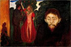 Jealousy - Edvard Munch, oil on canvas, 67 x 100cm. Rasmus Meyer Collection, Bergen Norway, 1895