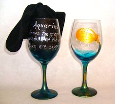 Hand Painted Wine Glass AQUARIUS by master artist by ThePainterist