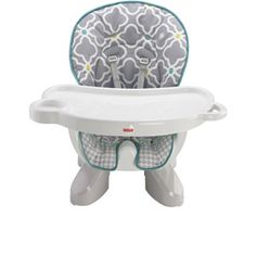 This pattern doesn't seem to be available in Canada. But I like the recline/convertible functions and that it straps to a chair as opposed to a traditional high chair. Fisher-Price SpaceSaver High Chair, Morning Fog