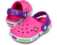 And swoon once again... Crocband Kids Lego Crocs in Neon Magenta & Neon Purple, from the SS13 Crocs collection