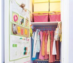 Multi-pocket organizers on a closet door display hair ties, sunglasses, trinkets―and reminder notes from Mom.