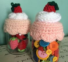 Frasco conTapa de Cupcake Tejida a Crochet  @LasVaretasCrochet