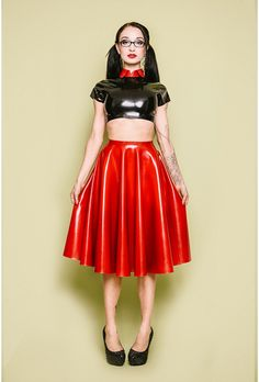 ladylucielatex:    I am SO excited to share the first of a new batch of photos with you. It's the babelicious Betty Madimiwearing the Betty Circle Skirt, with cropped t-shirt and round collar. These are all new LLL items, which are now available on our website.This gorgeous photo is by Adam Robertson Photography.