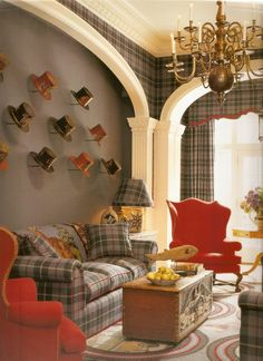 Living room - tartan and hats
