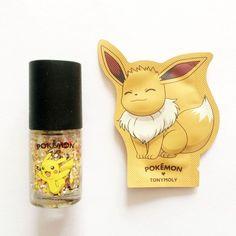 Tonymoly Pokemon Edition Pikachu Nail Polish + Eevee Hand Cream Sample #TONYMOLY