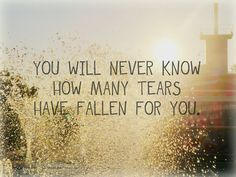 you will never know how many tears have fallen for you.  lovely sentiment which is applicable to so many situations