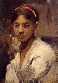 Head of a Capri Girl, 1878 by John Singer Sargent. Realism. portrait. Private Collection
