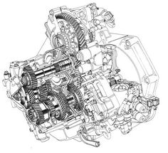 Automotive illustration. Cutaway, ghosted, phantom, and product, line art illustration.