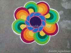 """Freehand design flower kolam done by santhi jagadesan*TODAY THOUGHTS OF KOLAM* """"Success is not the key to happiness. Happiness is the key to success. If you love what you are doing, you will be su..."""
