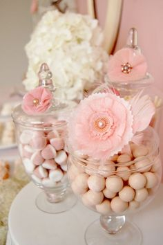 pink decorations - cute added flowers to apothecary jars