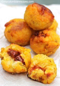 Colombian Food: Ripe Plantains Balls stuffed w mozzarella and guava paste :O