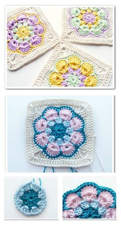 Crochet Spike Stitch African Flower Square Free Pattern