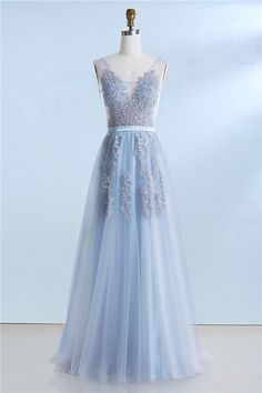 v neck prom dresses, backless prom dresses, blue prom dresses, appliques prom dresses, long prom dresses, 2017 prom dresses @dresstell