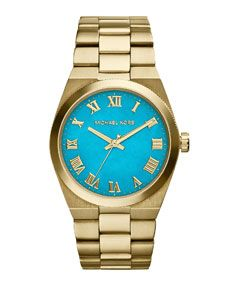 Michael Kors Mid-Size Channing Golden Stainless Steel Three-Hand Watch - I WANT THIS! KIDS start saving!!