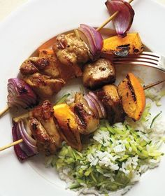 Grilled Chicken and Orange Skewers With Zucchini Rice Recipe from realsimple.com #myplate #protein #vegetables