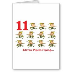 12 days of Christmas, eleven pipers piping card