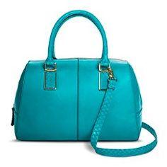 Women's Solid Satchel Handbag with Alligator Texture Handles - Turquoise - Mossimo™