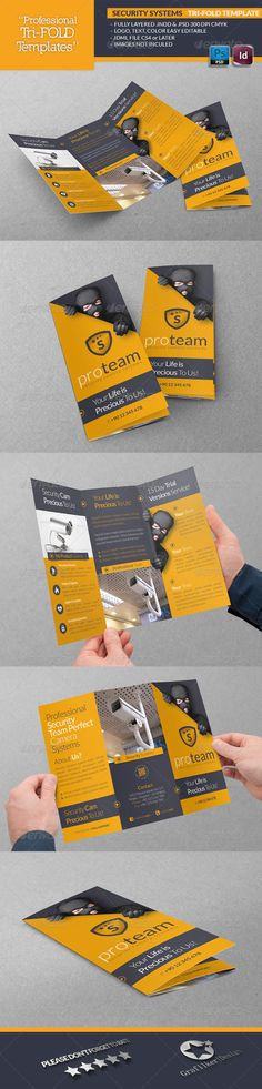 Security Systems Tri-Fold Template (InDesign INDD, CS4, 297x210, bodyguard, burglary, cars, emergency, fire, first aid, free services, gas, gold, grafilker, guard, health care, help, importance, insurance, money, police, policy, reliability, reliance, safety, security, security cameras, security guards, soldiers, theft, valuables, workplace safety)