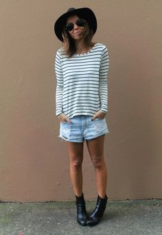 #lookSly blusa de listrs e shorts jeans