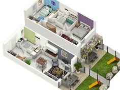 Casa com 2 quartos Small Apartment Plans, Apartment Layout, Indian House Plans, Sims House Plans, Kitchen Room Design, Home Decor Kitchen, Bienes Raises, House Layouts, Model Homes