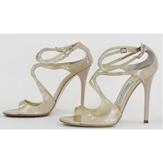 Jimmy Choo Nude Patent Leather 'Lance' Strappy Heels
