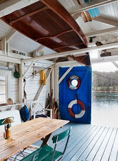 I'm a jolly Interior design student who loves everything that has to do with boats. These pictures makes me hear the ocean and start dreaming. Lake Cottage, Cottage Living, Cottage Style, Surf Shack, Beach Shack, Shed Interior, Boat Shed, Haus Am See, Rustic Design