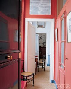painted foyer. Elle Decor--  Color of the Month on LoveNestDesign blog-- June is Coral