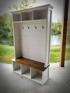 This is a handmade Farmhouse Style Hall Tree with a built in Bench. This hall tree is made from pine and is fully customizable to fit your space. We can also change paint colors and stain should you w Farmhouse Hall Trees, Farmhouse Style, Farmhouse Bench, Farmhouse Furniture, Modern Farmhouse, Farmhouse Decor, Furniture Makeover, Diy Furniture, Furniture Movers
