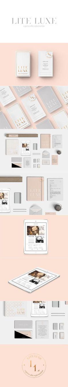 (17) Lite Luxe / Branding / Ideas / Inspiration / Brand / Design / Beauty / Skin / Cosmetic / Wellness / Elegant / Feminine / pink / Millenial / Rose gold / Gray