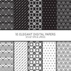 Elegant Swirl Digital Paper, Geometric Seamless pattern, Scrapbook paper, digital paper pack, digital background, Vector Graphics
