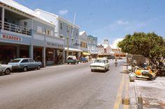 35mm Slide Bermuda Street Scene 1971 Taxi Car Shops Agfachrome Original