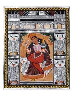 Laxmi Kalighat Artwork on Canvas Phad Painting, Mural Painting, Mural Art, Fabric Painting, Madhubani Art, Madhubani Painting, Amazing Paintings, Indian Paintings, Kalamkari Painting