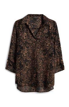 Black Patterned Blouse White Sleeveless Blouse, Black Blouse, Primark Uk, Tunic Pattern, Cute Crop Tops, Blouse Patterns, Black Pattern, Printed Blouse