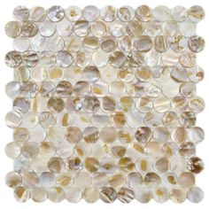 Merola Tile Conchella Penny Natural in. Seashell Mosaic Wall Tile from Home Depot for backsplash. Mosaic Wall Tiles, Mosaic Glass, Mosaics, Pebble Tiles, Fireplace Facade, Penny Tile, Wall Installation, Shower Floor, Outdoor Walls