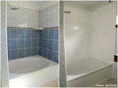 DIY: How to Paint Shower Tile - this is an excellent tutorial that shows every step involved in updating tile with paint. This budget-friendly project is a great way to update your bathroom and increase your home& value! Painting Bathroom Tiles, Painting Shower, Tub Tile, Bad Inspiration, Bathroom Inspiration, Bathroom Renos, Small Bathroom, Bathroom Ideas, Bathroom Baskets