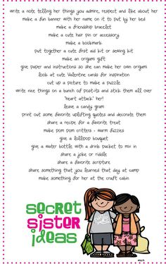Secret Sister ideas- We did Secret Santa in 2nd grade and the girls loved it! I'm  repinning to remember for 5th grade. I like calling it Secret Sisters, too. (That way we are not inclined to do it around Christmas when it's already busy for everyone.)