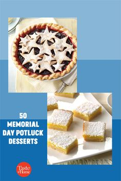 It's your turn to steal the show at the potluck. You and your guests will love these summery Memorial Day desserts. Potluck Desserts, Slow Cooker Desserts, Memorial Day Desserts, Seven Layer Bars, S'mores Bar, Star Cookies, Banana Split, Cheesecake Bars, Frozen Banana