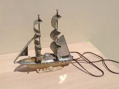 Vintage Glass and Metal Sailing Ship TV Lamp