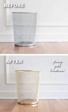Trashcan makeover using spray paint! -- 29 Cool Spray Paint Ideas That Will. - Trashcan makeover using spray paint! — 29 Cool Spray Paint Ideas That Will Save You A Ton Of - Spray Paint Projects, Spray Paint Cans, Spray Painting, Spray Paint Metal, Spray Paint Diy Decor, Spray Paint Ceramic, Best Gold Spray Paint, Painting Hacks, Gouache Painting
