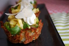 PARKER'S GENERAL: BAKED HASH BROWN NESTS WITH CREAMY ASPARAGUS AND SCRAMBLED EGGS