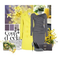A fashion look from November 2014 featuring woolen dress, yellow coat and closed toe shoes. Browse and shop related looks.