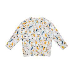 Acne Studios Mini college terrazzo blue/black is a soft unisex kids fleece sweatshirt with an all over print.