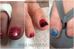 pedicure fun for a mother and her two daughters. Left to right . LCN's Pink butterfly with hand painted zebra print, LCN's shimmer top coat. Middle, is ombre with black and Raspberry lollipop polishes by lCN. Right is blue oasis with pink and black acrylic paint and shimmer top coat.