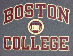 Boston College T-Shirt Large Mens Champions BC School Logo 100% Cotton Gray