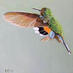 "Daily Paintworks - ""Dance, Hummingbird Oil Painting"" - Original Fine Art for Sale - © Linda McCoy"
