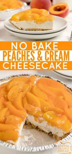 No Bake Peaches and Cream Pie is one of my favorite summer desserts with fresh peaches. The no-bake cheesecake filling in a graham cracker crust is topped with a simple peach sauce mixed with fresh peaches. Tart Recipes, Best Dessert Recipes, Brownie Recipes, Cheesecake Recipes, Sweet Recipes, Cookie Recipes, Amazing Recipes, Breakfast Recipes, Köstliche Desserts